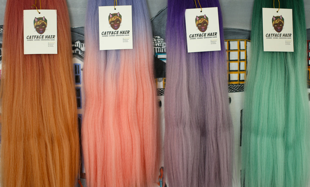 CATFACE HAIR PINK BLUES OMBRE BRAIDING HAIR - 16 INCHES