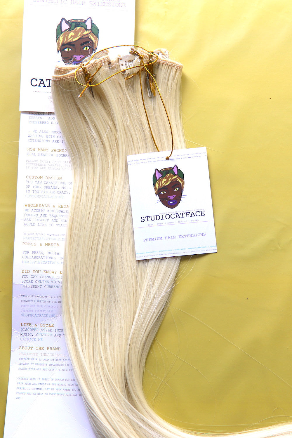 CATFACE CLIP-IN HAIR EXTENSIONS : BLONDE FIZZ - 18 INCHES