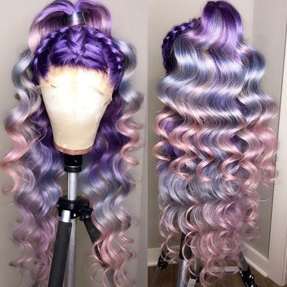 PURPLE & LILAC HAZE OMBRE BRAZILIAN HUMAN HAIR LACE FRONT WIG  BRAZILLIAN HAIR , PRE-PLUCKED TRANSPARENT SWISS HD  LACE