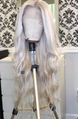 SILVER GREY CATFACE HAIR HUMAN HAIR BRAZILLIAN LACE FRONT BODY WAVE WIG