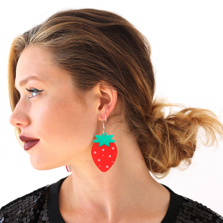 Catface Earrings - BERRY RED