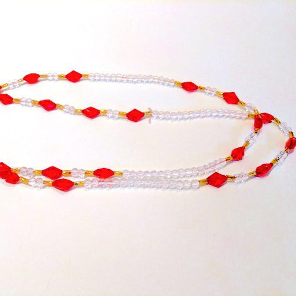CATFACE HANDMADE WAIST BEADS - RED BELLY BAE