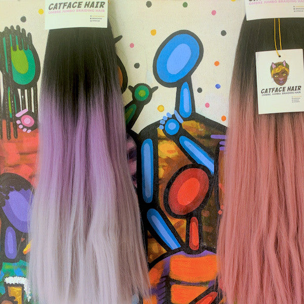 CATFACE HAIR BLACK LILAC GREY OMBRE BRAIDING HAIR - 16 INCHES