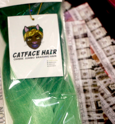CATFACE HAIR GLOW IN THE GREEN CANDY OMBRE BRAIDING HAIR