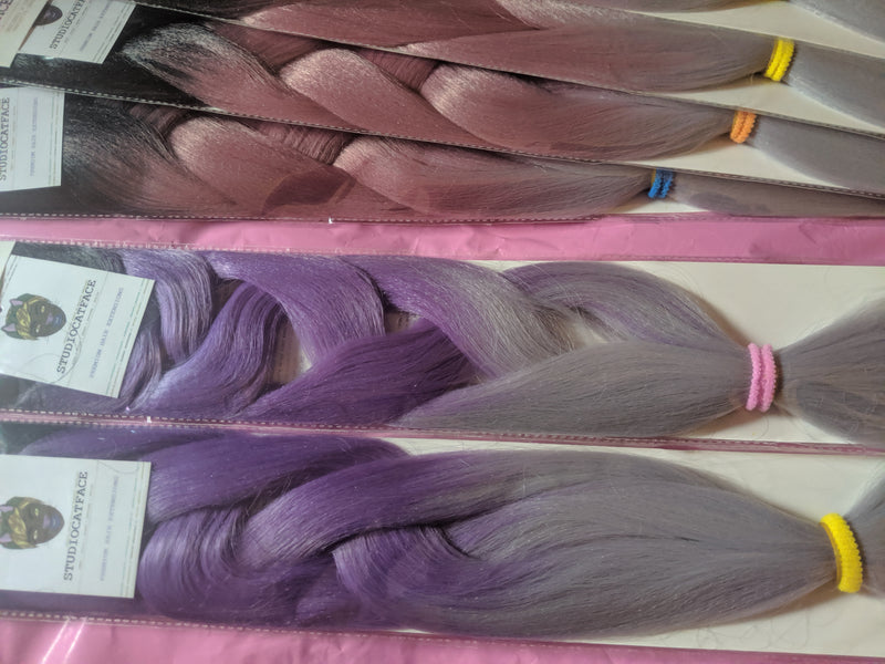 CATFACE HAIR BLACK LILAC GREY OMBRE 30 INCHES JUMBO BRAIDING HAIR