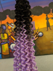 BLACK LILAC OMBRE BULK BEACH CURLY HAIR -  CROCHET BRAIDS 24 INCHES CATFACE HAIR