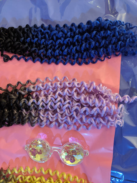 BLACK BLUE IVY OMBRE BULK BEACH CURLY HAIR -  CROCHET BRAIDS 24 INCHES CATFACE HAIR