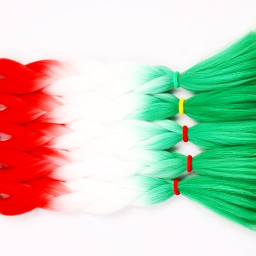Festive Limited Edition! RUBY RED, NEON WHITE & ELF GREEN OMBRE BRAIDING HAIR - 24 INCHES