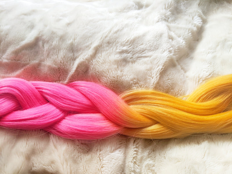 PINK MUSTARD 24 INCHES - CUSTOM DESIGN CATFACE OMBRE BRAIDING HAIR