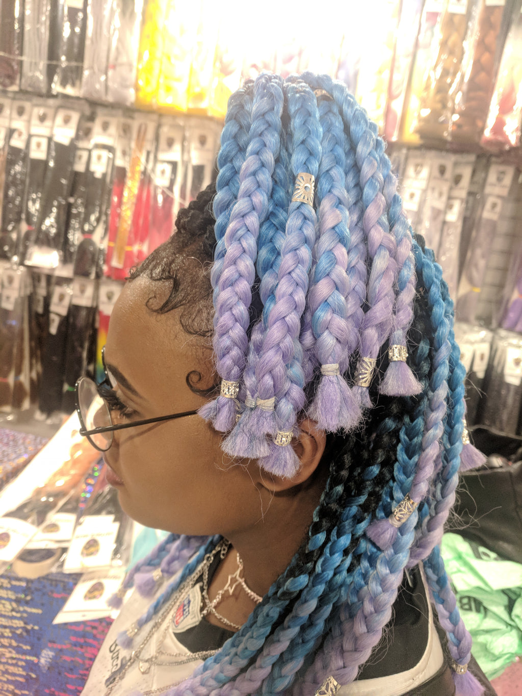 CATFACE HAIR: 3 TONE BABY BERRY CRUSH OMBRE -  16 INCHES HAIR EXTENSIONS - BOXBRAIDS, ROPE TWISTS