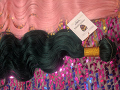 COSMIC CATFACE VIRGIN HAIR EXTENSIONS – SEA GREEN ONE TONE