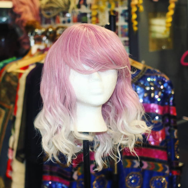 PINK SUGAR WHITE OMBRE SYNTHETIC BOB WIG COSMIC CATFACE