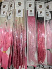 Bubble Gum Pink Small Rope Twists Crochet Braid 24 inches