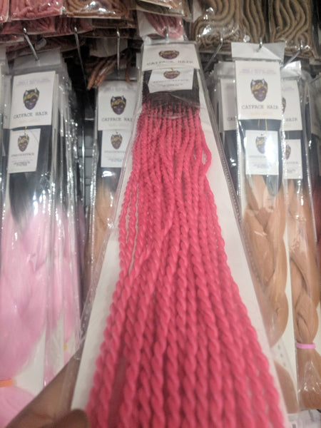Black Fuscia Pink Small Rope Twists Crochet Braid 24 inches