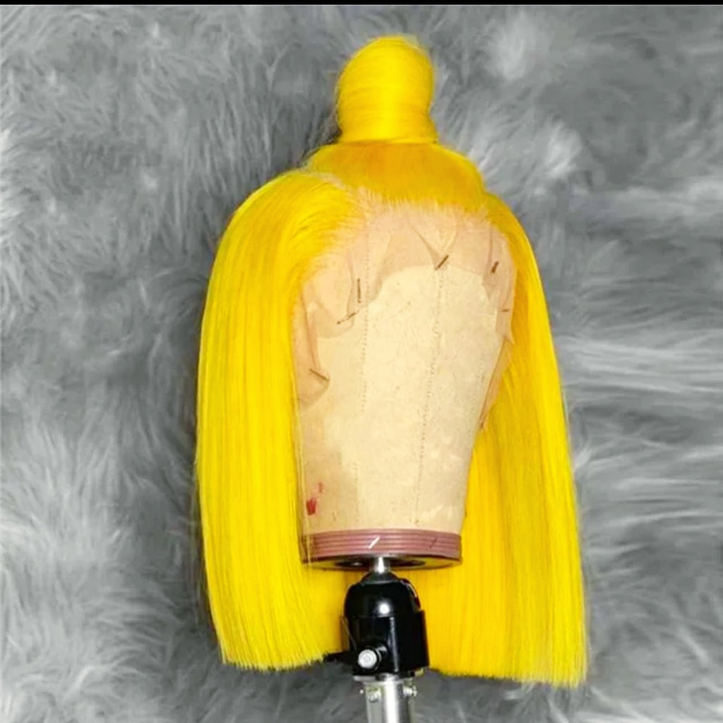 CATFACE HAIR HUMAN HAIR BRAZILLIAN LACE FRONTAL SUNFLOWER YELLOW YELLOW WIG