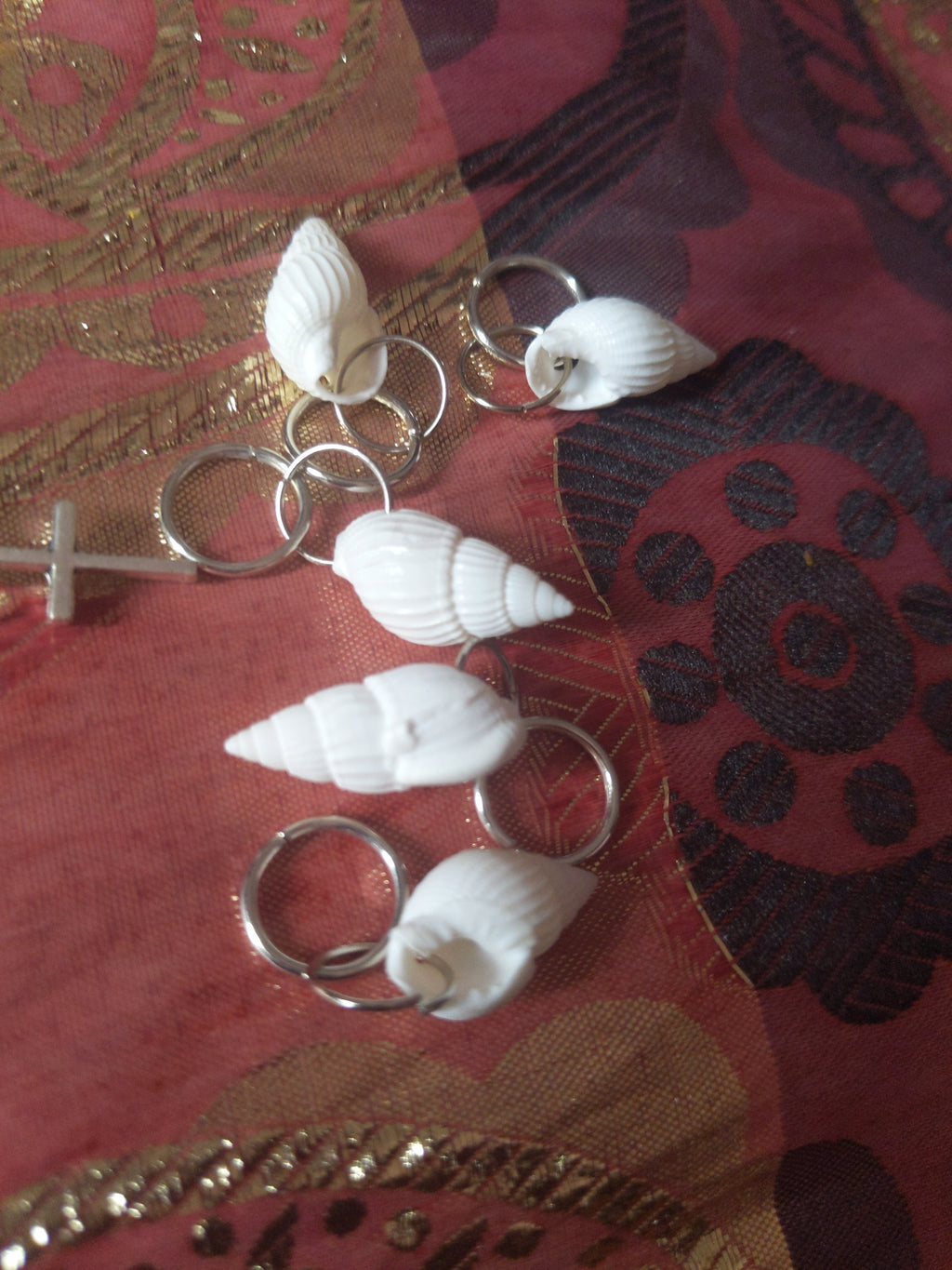Catface Silver Cowries Hair Charms & Dread Loc Bead