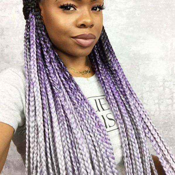 CATFACE HAIR BLACK LILAC GREY OMBRE JUMBO BRAIDING HAIR