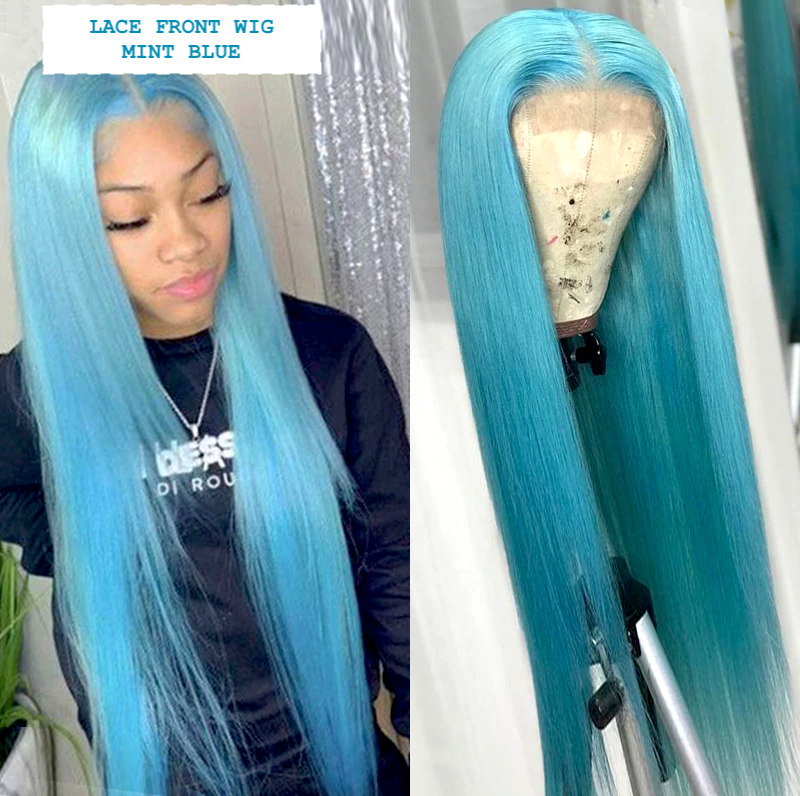 CATFACE HAIR HUMAN HAIR BRAZILLIAN LACE FRONT MINT BLUE STRAIGHT SWISS LACE FRONT WIG GRADE 10 A VIRGIN HAIR