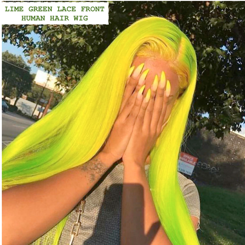 CATFACE HAIR HUMAN HAIR BRAZILLIAN LACE FRONT LIME GREEN STRAIGHT WIG