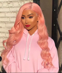 CATFACE HAIR HUMAN HAIR BRAZILLIAN LACE FRONTAL BUBBLEGUM PINK STRAIGHT WIG