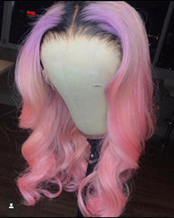 MIDNIGHT PINK OMBRE BODY WAVE  BRAZILIAN HUMAN HAIR LACE FRONT WIG : PRE-PLUCKED TRANSPARENT SWISS HD LACE