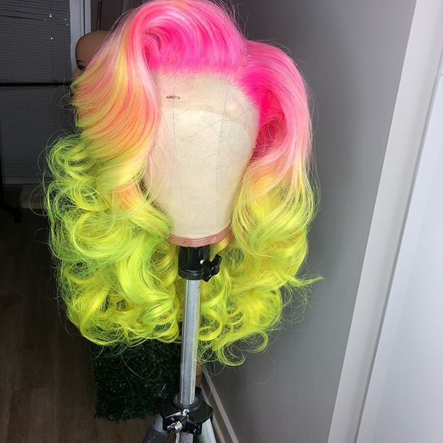 TROPICAL STAR PINK PEACH & LIME OMBRE BODY WAVE  BRAZILIAN HUMAN HAIR LACE FRONT WIG  BRAZILLIAN HAIR , PRE-PLUCKED TRANSPARENT SWISS HD  LACE