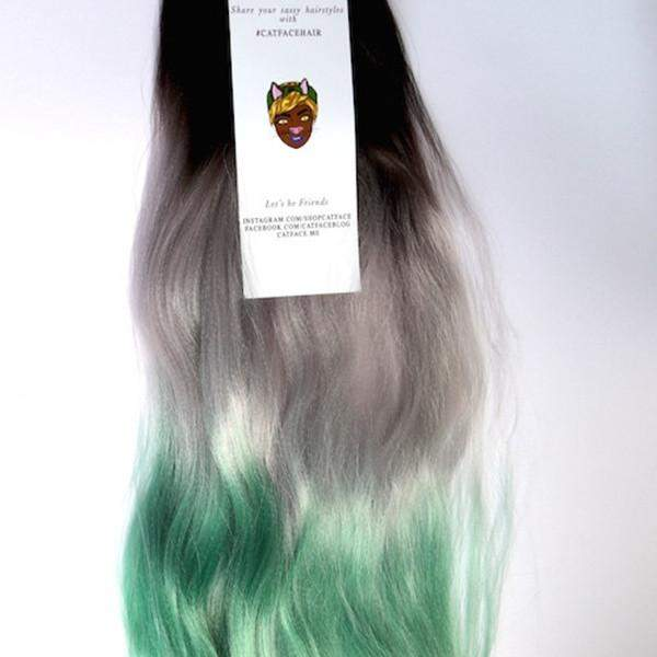 CATFACE HAIR BLACK GREY GREEN OMBRE JUMBO BRAIDING HAIR
