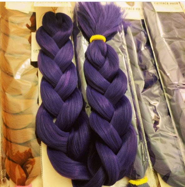 MIDNIGHT PURPLE ONE TONE BRAIDING HAIR 34 INCHES 265g