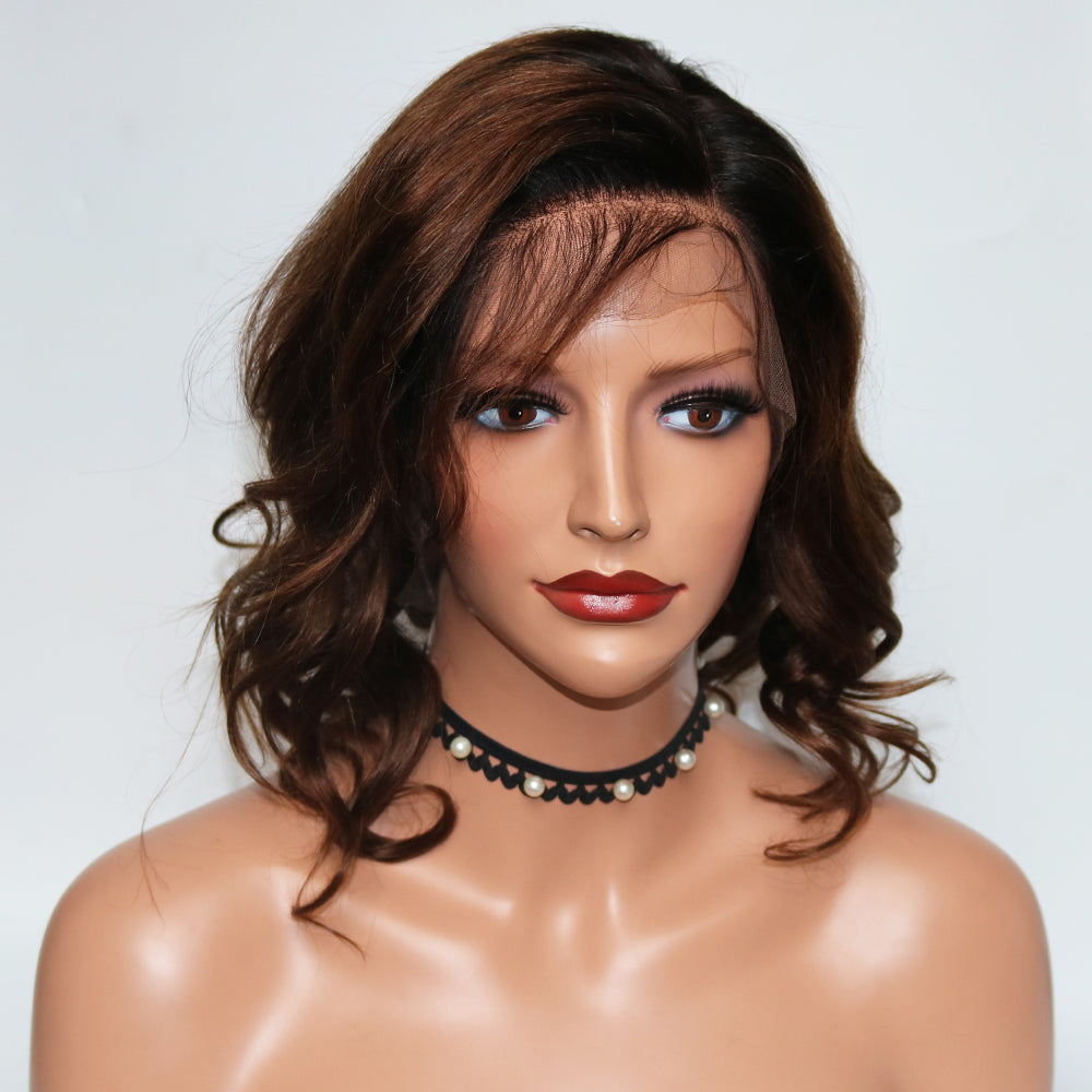 CATFACE HAIR GLUELESS HUMAN HAIR BOB WIG - BRAZILLIAN FULL LACE WIG - FULL LACE, GRADE 10A (150% DENSITY)