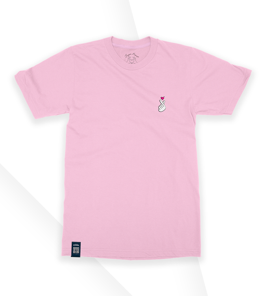 T-Shirt Finger Heart Candy Pink