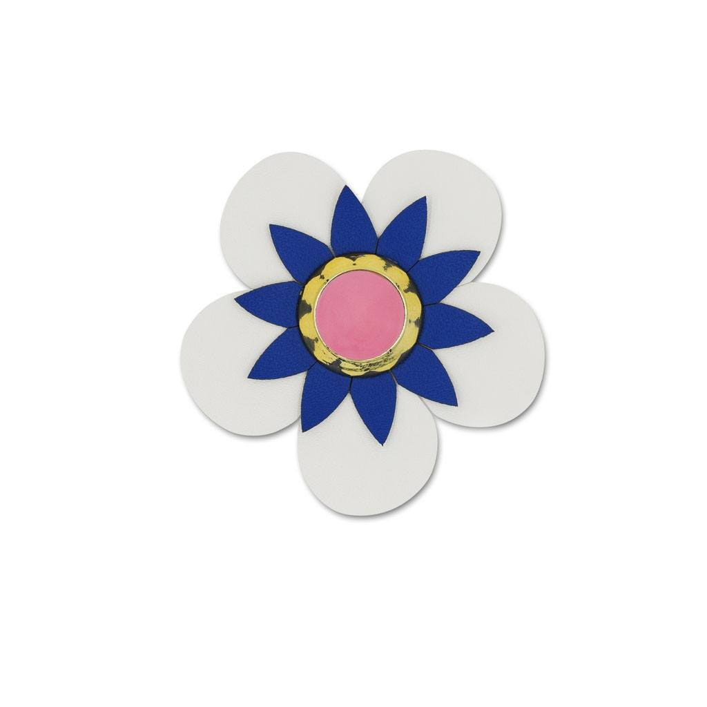 Flower Sticker- White Vegan Leather