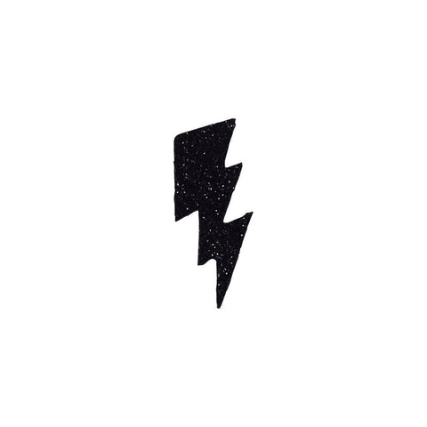 Small Bolt Sticker - Black Glitter