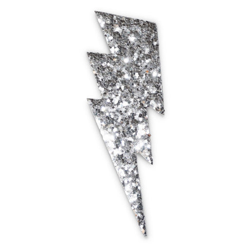 Glitter Large Bolt Sticker (Silver)