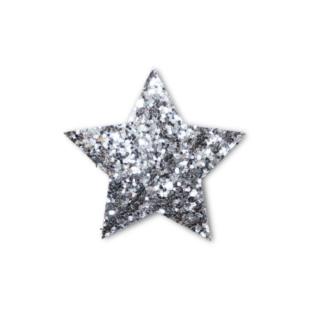 Large Star Sticker Patch - Silver Glitter - 2 pack