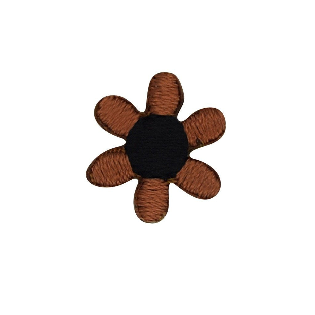 Embroidered Flower Sticker - Camel