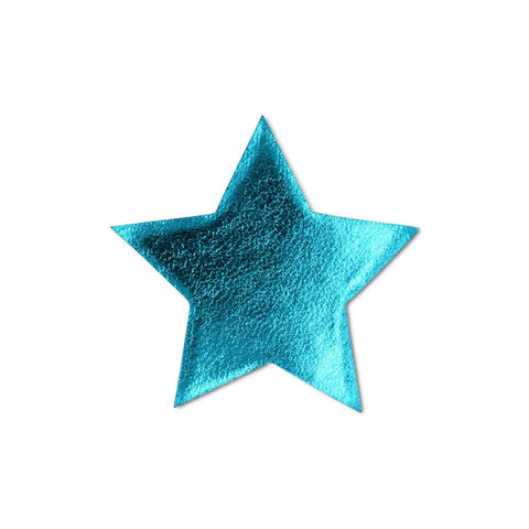 Large Star Sticker Patches - Turquoise Vegan Leather - 2 Pack