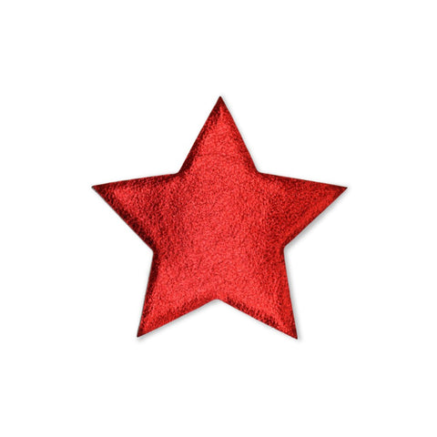Large Star Sticker Patches - Red Vegan Leather - 2 Pack