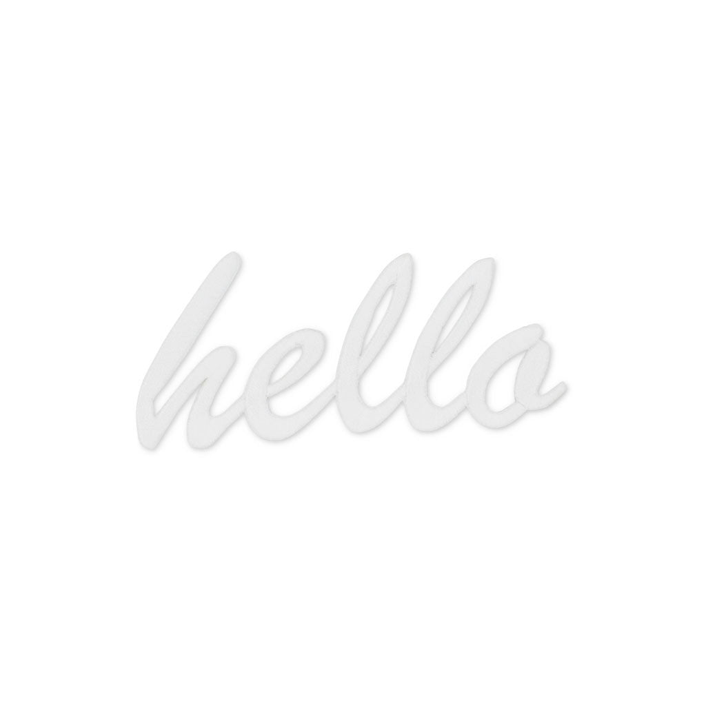 Hello Embroidered Patch -White