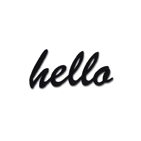 Hello Embroidered Patch - Black