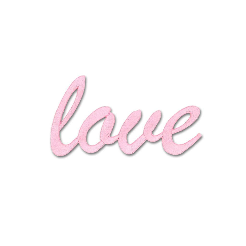 Love Embroidered Patch -Light Pink