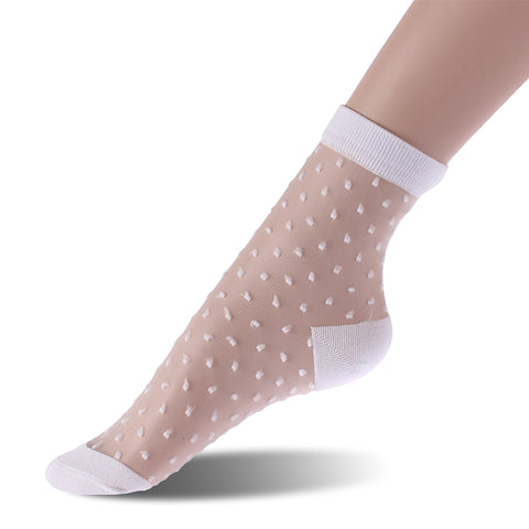 Sheer Sock - White Dots