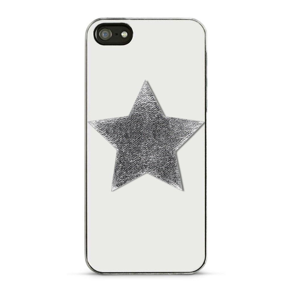 Large Star Sticker Patches - Silver Vegan Leather - 2 Pack