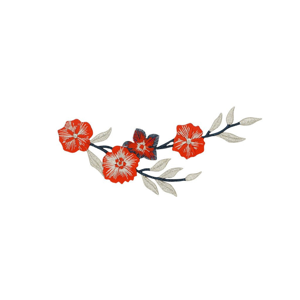 Embroidered flower vine sticker trendbar