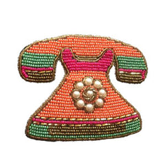 Luxe Beaded Patch - Retro Telephone