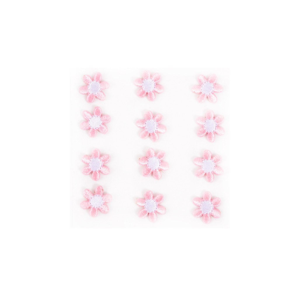 Embroidered Flower Sticker - Pink
