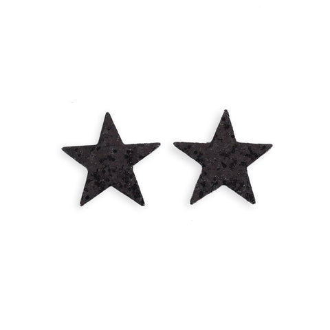 Black Glitter Star Stickers - 2 Pack