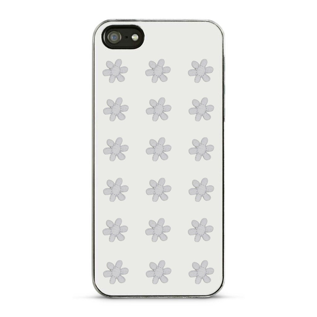 Embroidered Flower Sticker - White