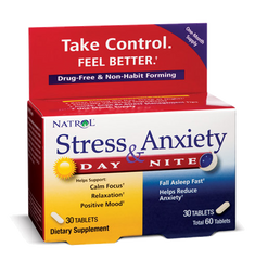 Natrol® Stress & Anxiety 60 Tablets | Day & Night Formula - Vitamin Hot Spot