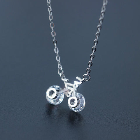 925 Sterling Silver Bicycle Necklace