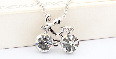 Stunning Silver and Colored Wheels Cycling Necklace